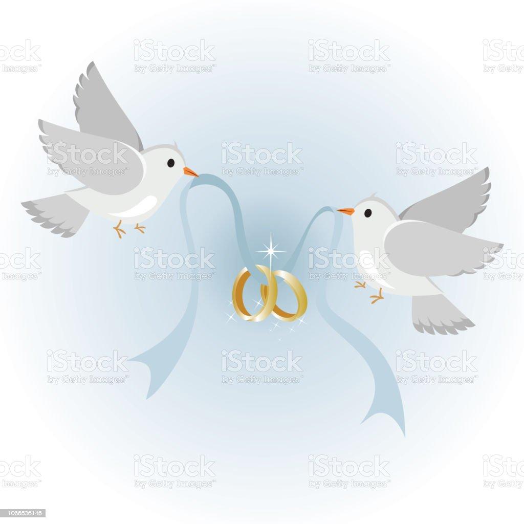 Hochzeit Tauben Mit Ringe Symbol Fur Liebe Und Hochzeit Stock Vektor