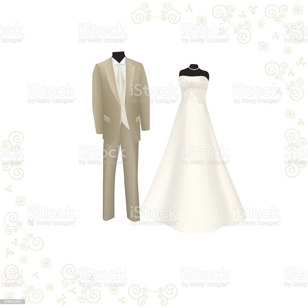 Hochzeitskleid Und Braunanzug Für Männer Stock Vektor Art und mehr ...