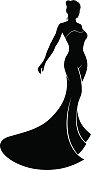 A silhouette bride in her bridal wedding dress