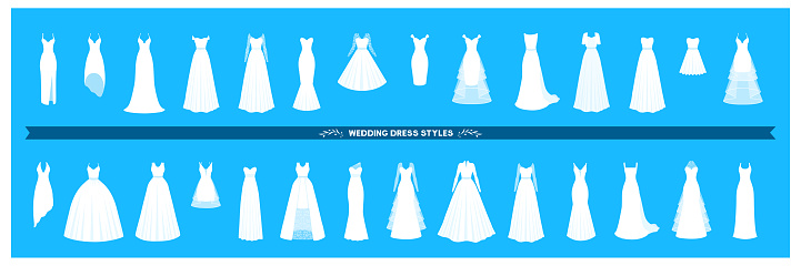 Wedding dress collection. Different styles and shapes of a bridal dress silhouette. A large set of various dresses.