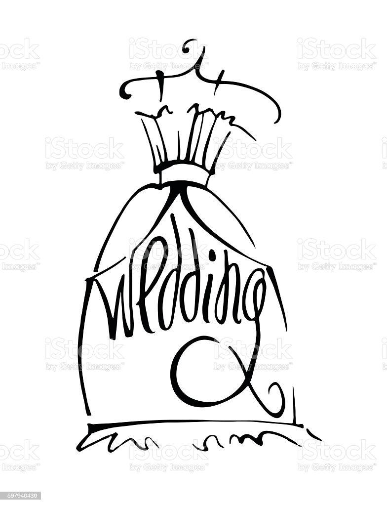 Wedding dress hand drawn ilustração de wedding dress hand drawn e mais banco de imagens de adolescente royalty-free
