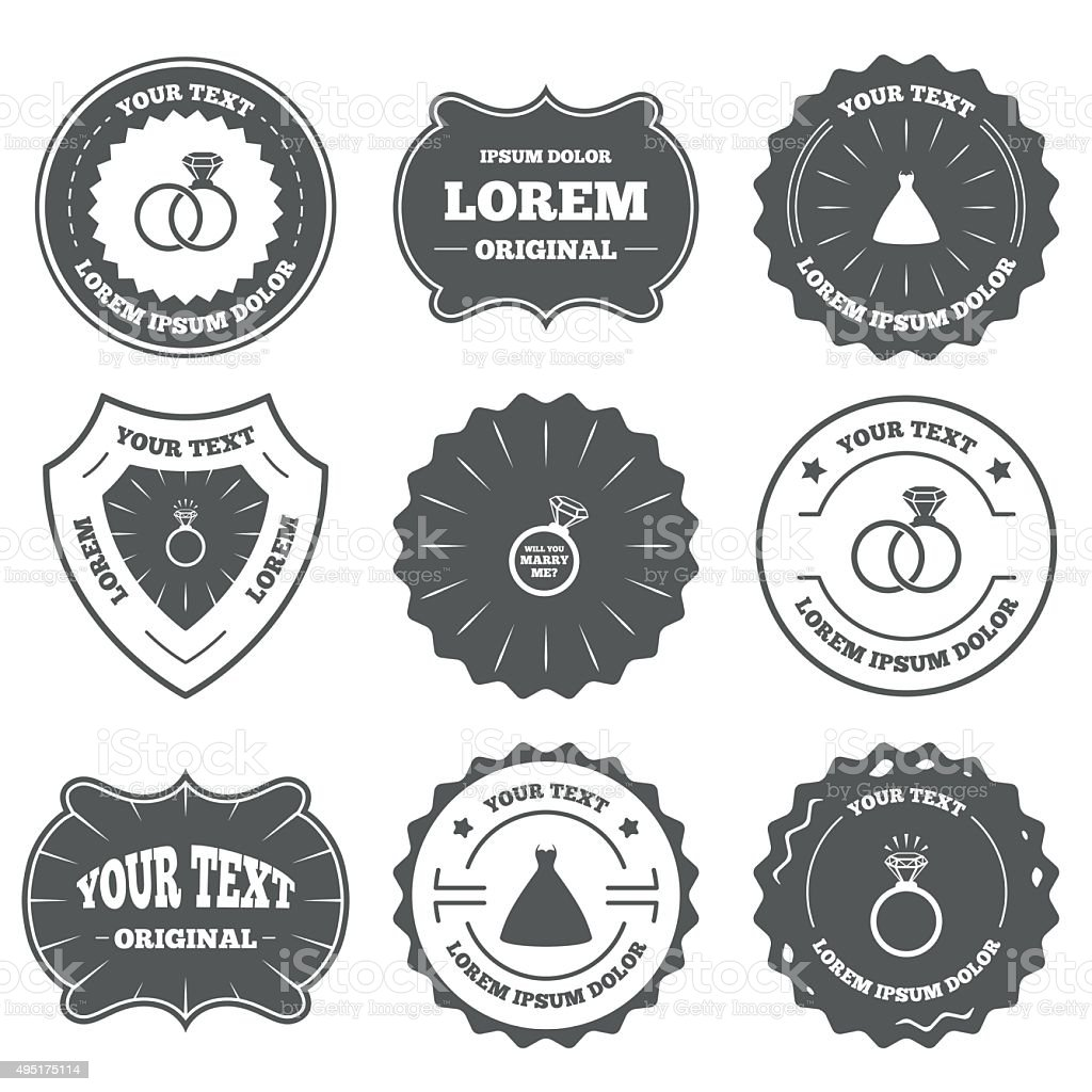 Wedding dress icon. Bride and groom rings symbol vector art illustration