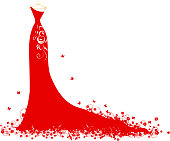 Wedding dress red on hangers