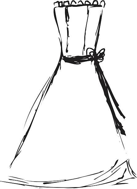 wedding dress sketch 1 - vector - prom fashion stock illustrations, clip art, cartoons, & icons
