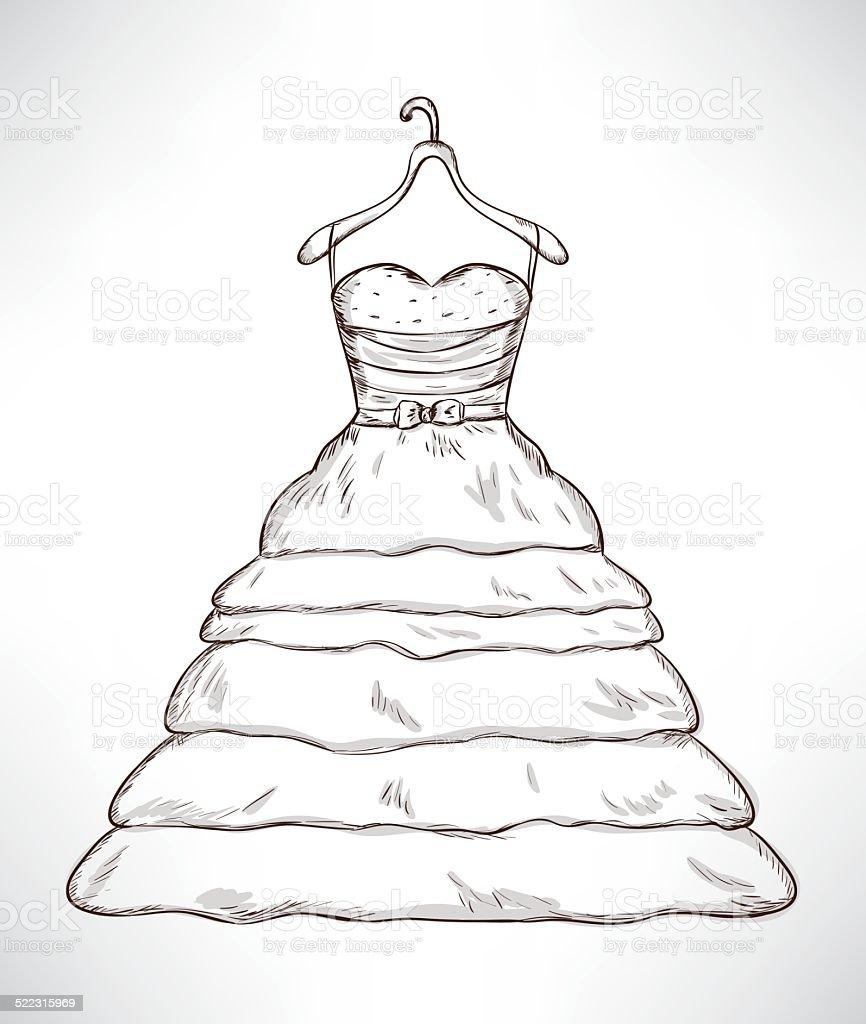 Hochzeitskleid Skizze Stock Vektor Art Und Mehr Bilder Von