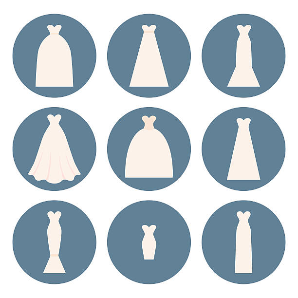 Wedding Dress Style Different styles of wedding dresses made in modern flat vector style. Choose your perfect wedding dress for your body type. Bridal vector. wedding dress stock illustrations