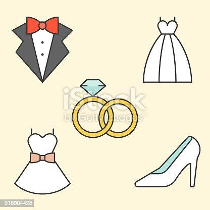 Wedding Dress Tuxedo Rings Wedding Shoe Filled Outline Icon Stock ...
