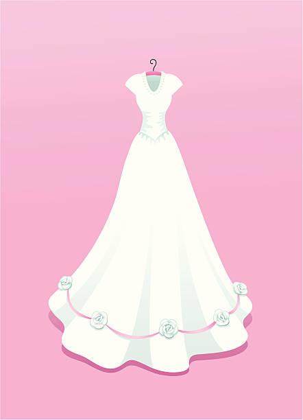 hochzeit kleid mit rosen - rosenhochzeitskleider stock-grafiken, -clipart, -cartoons und -symbole