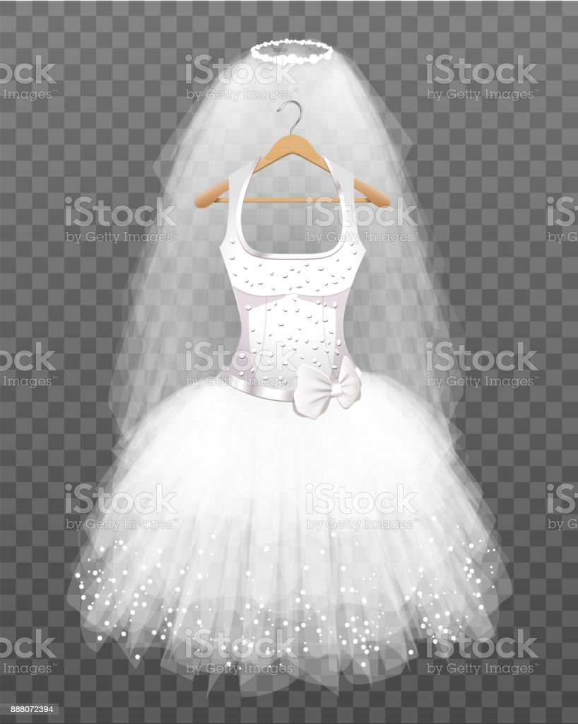 Wedding Dress with Veil vector art illustration