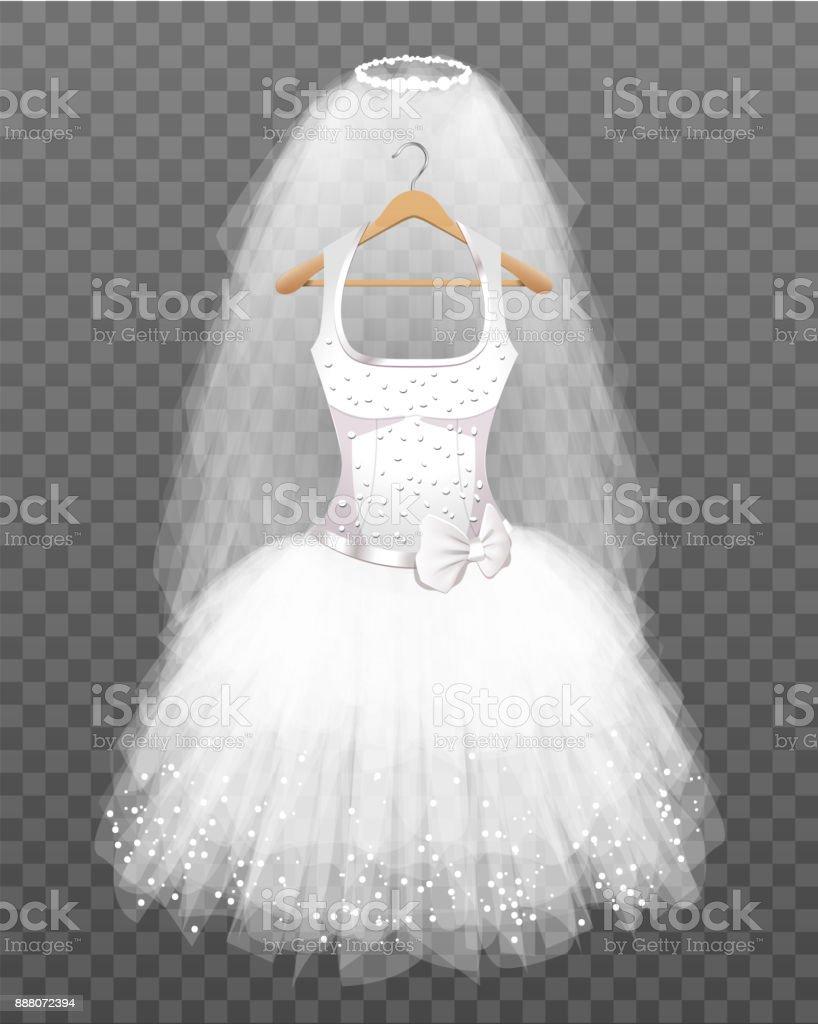 Brautkleid mit Schleier – Vektorgrafik