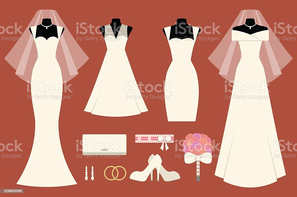 Wedding dresses and accessories vector art illustration