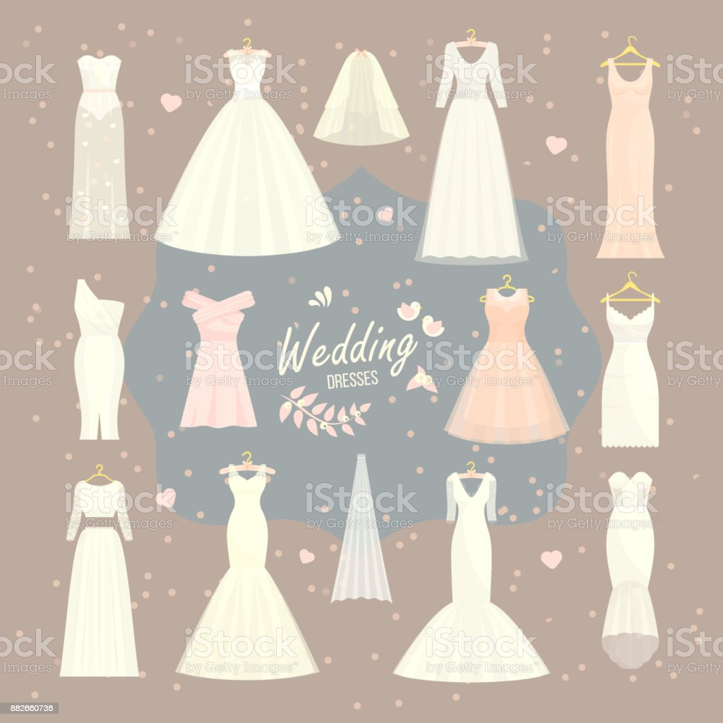 Wedding dresses vector set bride and bridesmaid white wear dressing accessories bridal shower celebration and marriage dressy fashion isolated illustration vector art illustration