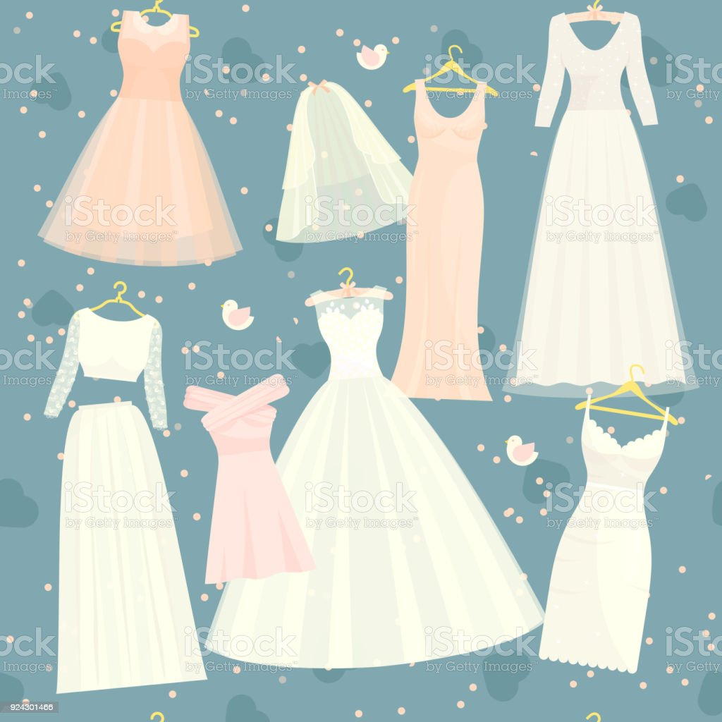 Wedding Dresses Vector Set Bride And Bridesmaid White Wear Dressing ...