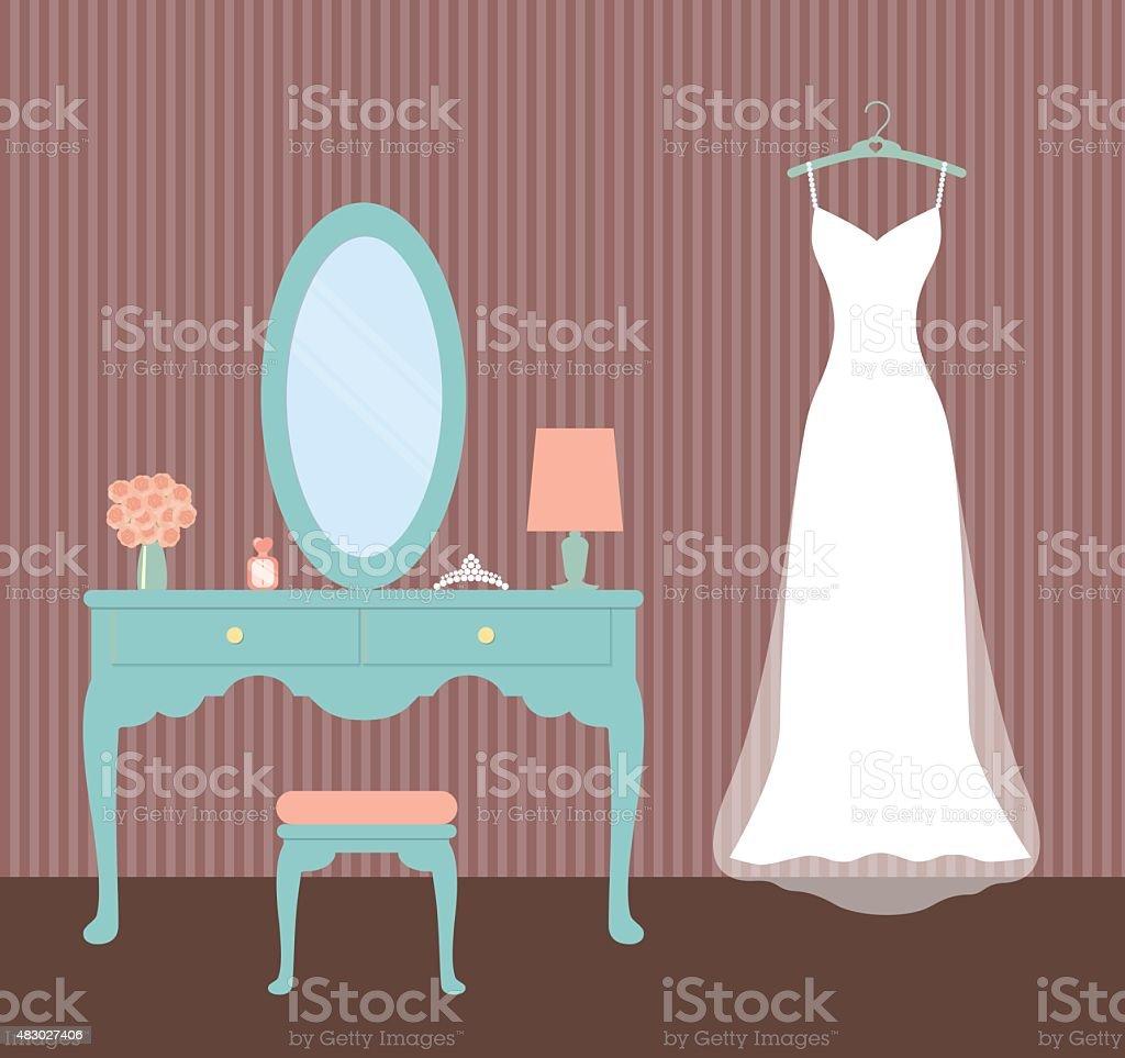 Hochzeit Dressvintage Anziehen Tableflat Vektorillustration Stock