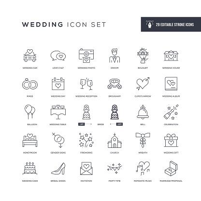 Wedding Editable Stroke Line Icons