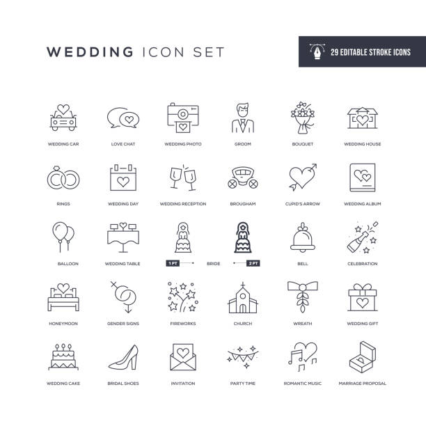 Wedding Editable Stroke Line Icons 29 Wedding Icons - Editable Stroke - Easy to edit and customize - You can easily customize the stroke with anniversary symbols stock illustrations