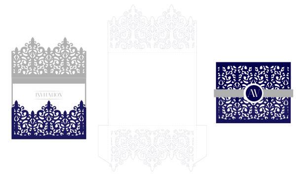 hochzeit elegante einladung karte verpackung vorlage. mock-up für das laserschneiden. - hochzeitsanstecker stock-grafiken, -clipart, -cartoons und -symbole