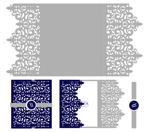 hochzeit elegante einladung karte verpackung vorlage. mock-up für das laserschneiden. vektor-royal-umschlag. - hochzeitsanstecker stock-grafiken, -clipart, -cartoons und -symbole
