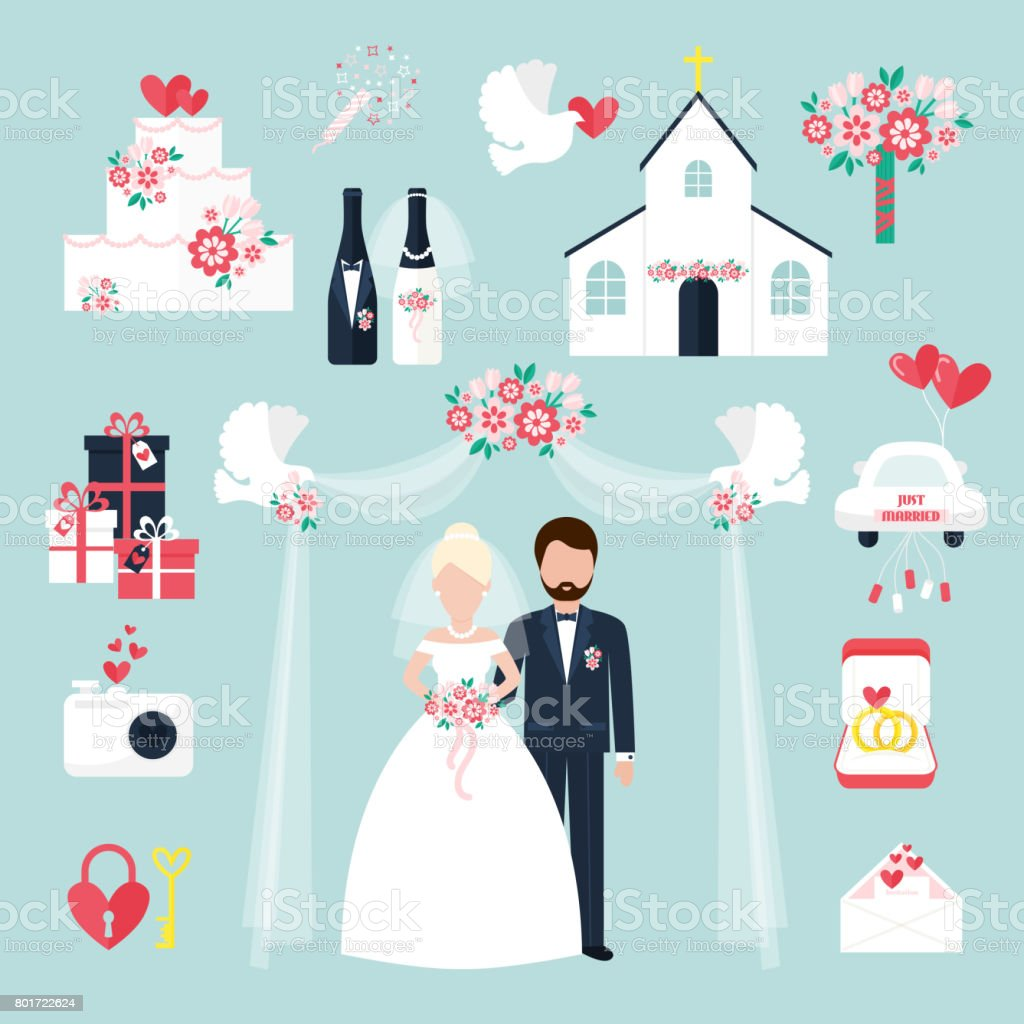 Wedding elements invitation celebration set flat anniversary romance decoration couple icons vector illustration