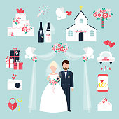 Wedding elements invitation celebration set flat anniversary romance decoration couple icons vector illustration