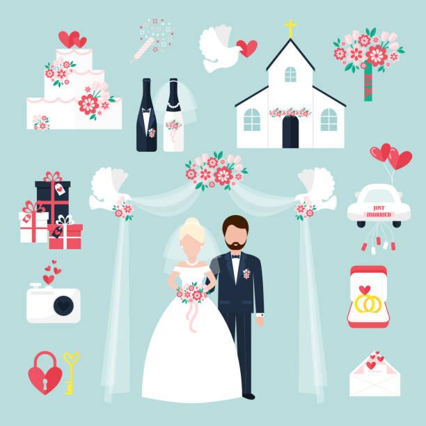 Wedding elements invitation celebration set flat anniversary romance decoration couple icons vector illustration vector art illustration