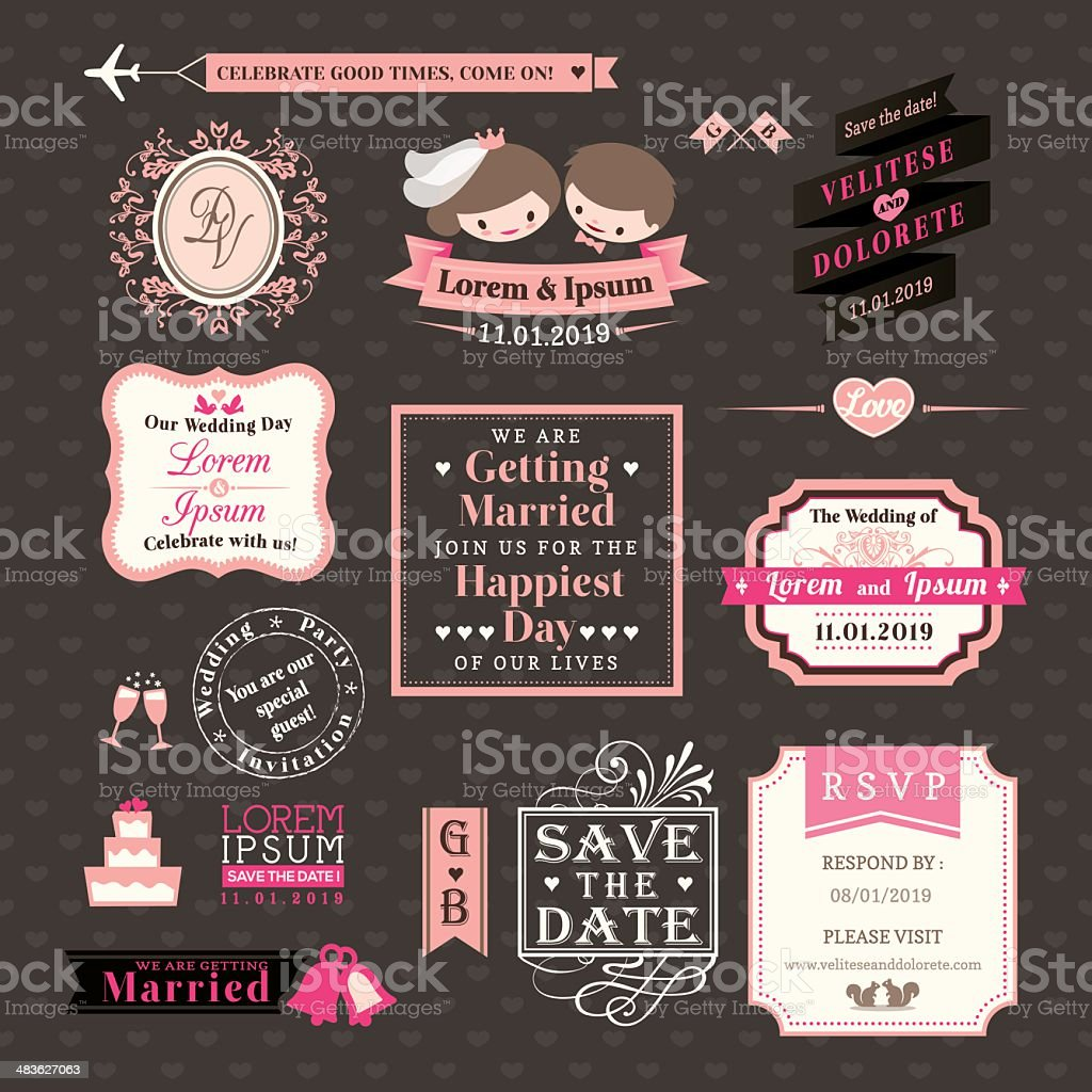 Wedding Elements labels and frames Vintage Style royalty-free stock vector art