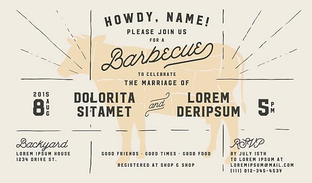 ilustraciones, imágenes clip art, dibujos animados e iconos de stock de boda compromiso de barbacoa retro plantilla de invitación - fiesta en el jardín