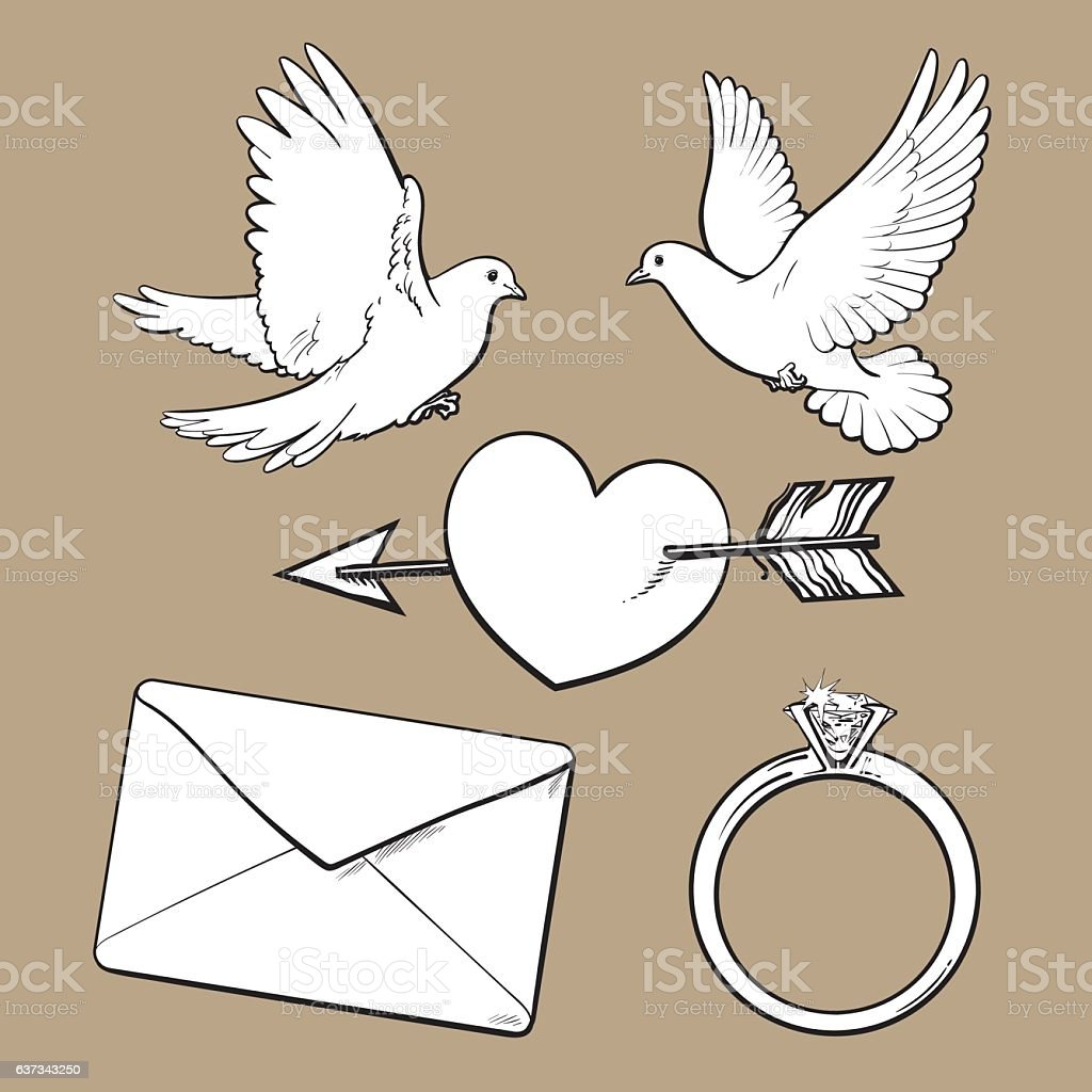 Wedding Engagement Icon Set With Doves Heart Ring Love Letter Stock