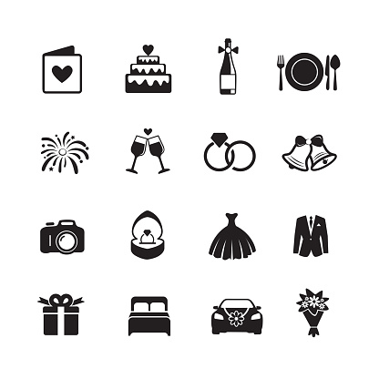 Wedding & Engagement Icons. clipart