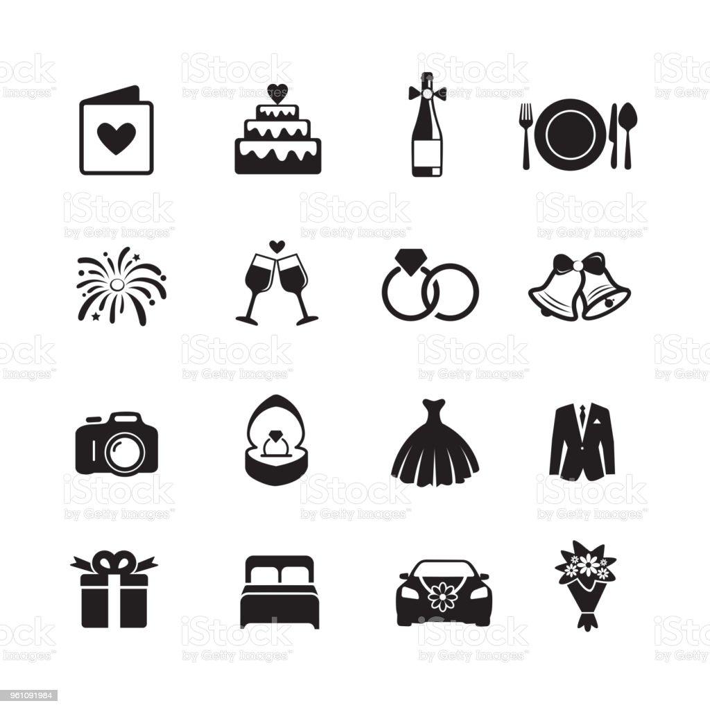 Casamento e noivado ícones. - ilustração de arte em vetor