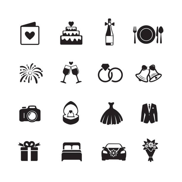 illustrazioni stock, clip art, cartoni animati e icone di tendenza di wedding & engagement icons. - matrimonio