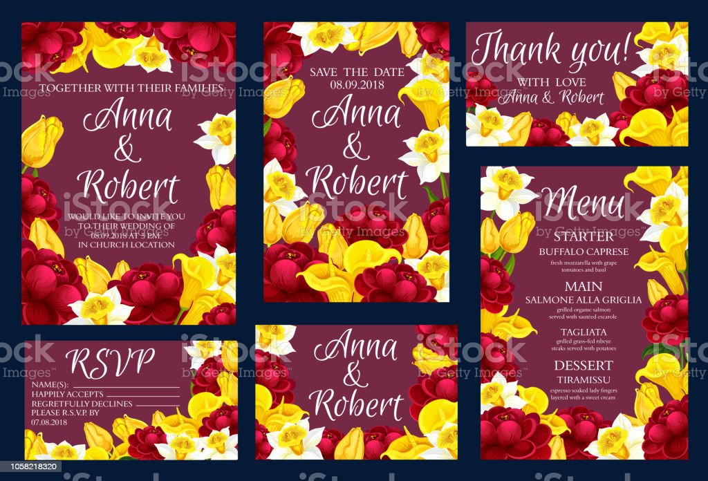 Wedding Engagement Invitation Cards With Flowers Stock ...