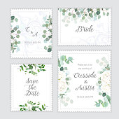 Wedding eucalyptus, rose square vector design banner frames. Rustic greenery invitation card. Mint, blue tones. Watercolor style collection. Mediterranean tree. All elements are isolated and editable