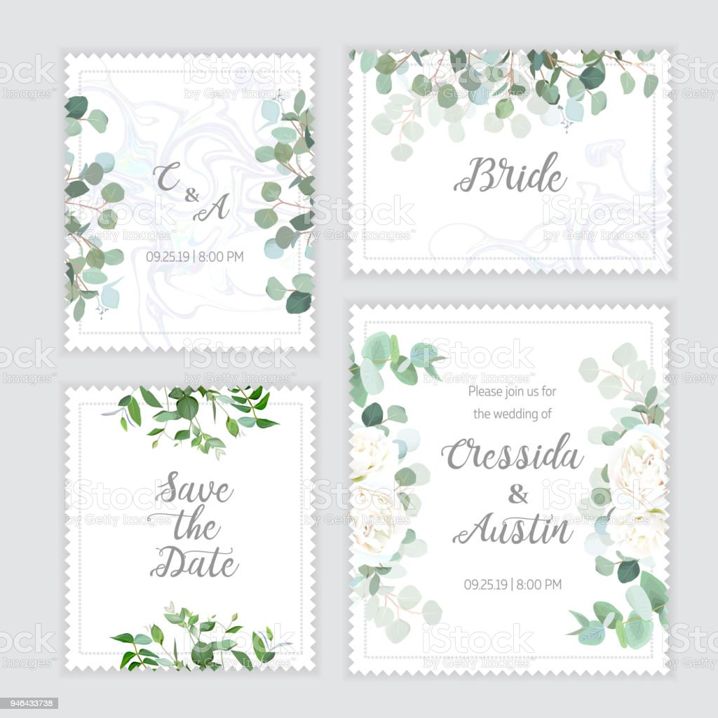 Wedding eucalyptus, rose square vector design banner frames vector art illustration