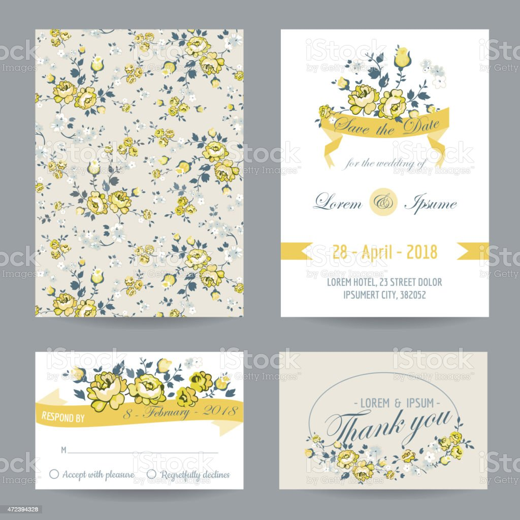 Wedding event cards with reminder invitation and thank you stock wedding event cards with reminder invitation and thank you royalty free wedding event stopboris Image collections