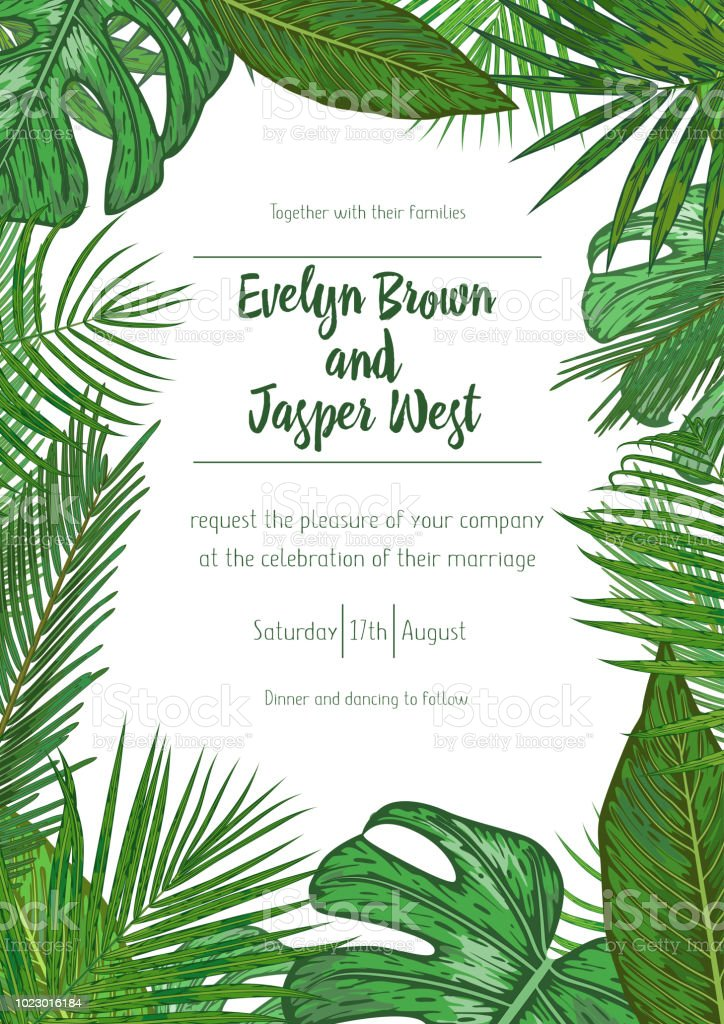 Wedding Event Invitation Card Template Exotic Tropical