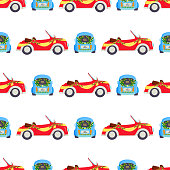 Wedding fashion transportation traditional auto seamless pattern background bride transport and romantic groom marriage beauty love automobile vector illustration. Travel couple romance car.