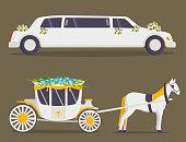 Wedding fashion transportation traditional auto expensive retro ceremony bride transport and romantic groom marriage beauty love automobile vector illustration. Travel couple romance car.