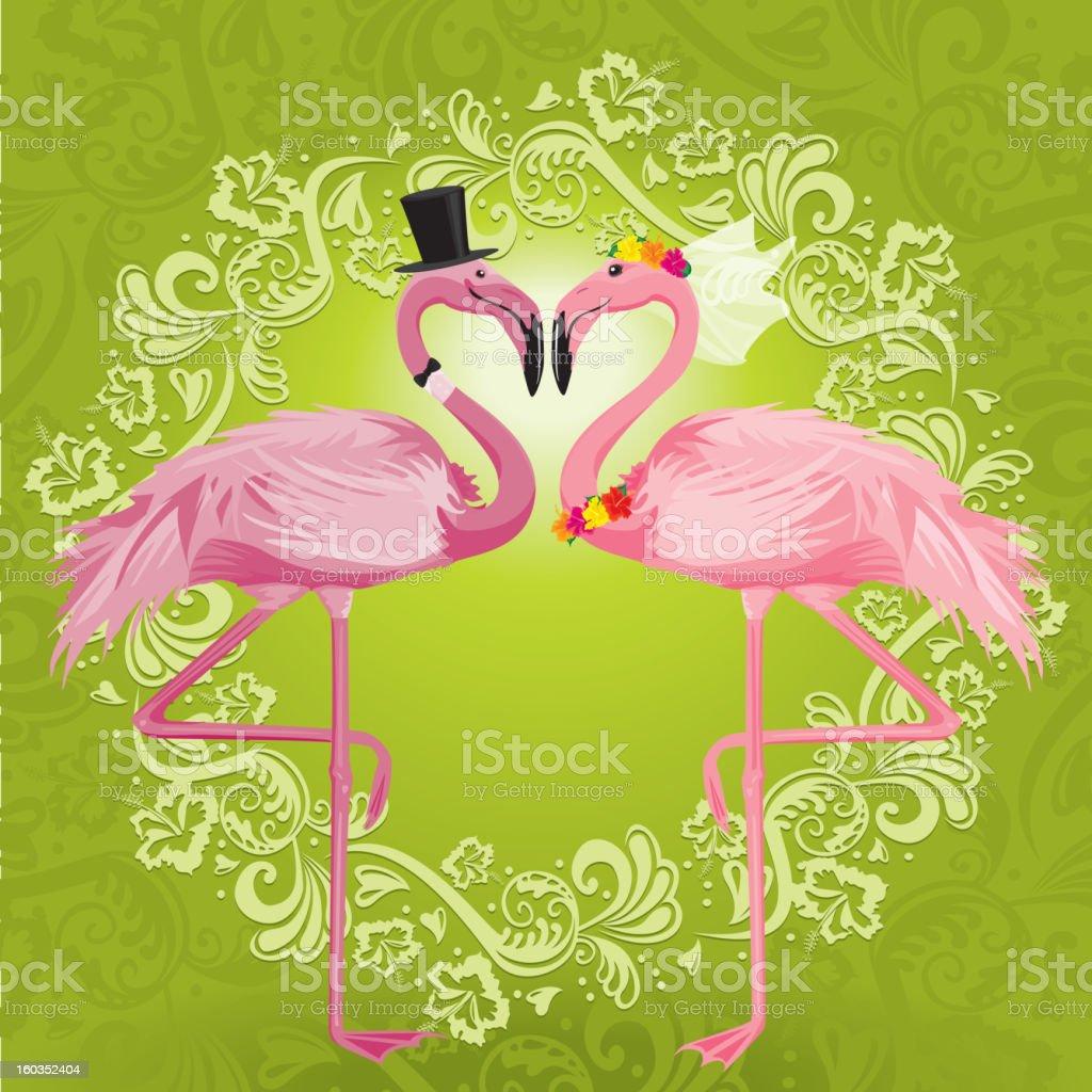 Wedding Flamingos royalty-free stock vector art