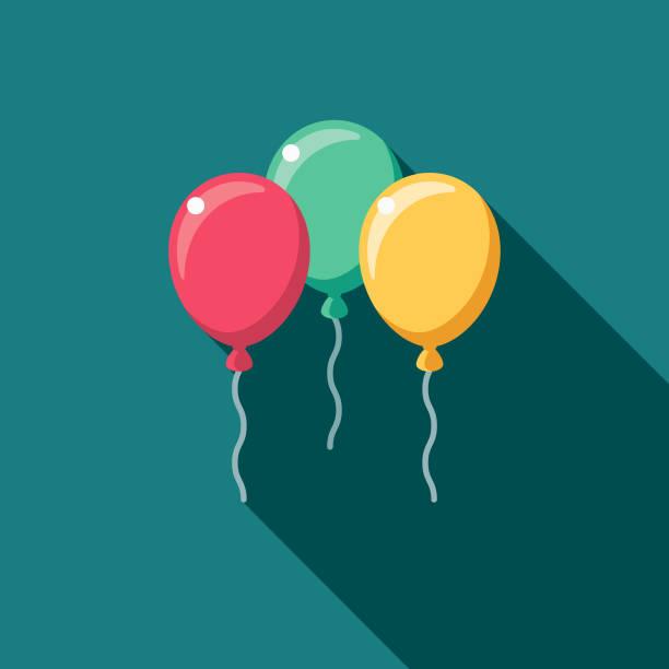 flache designikone mit seite schatten ballons hochzeit - ballon stock-grafiken, -clipart, -cartoons und -symbole