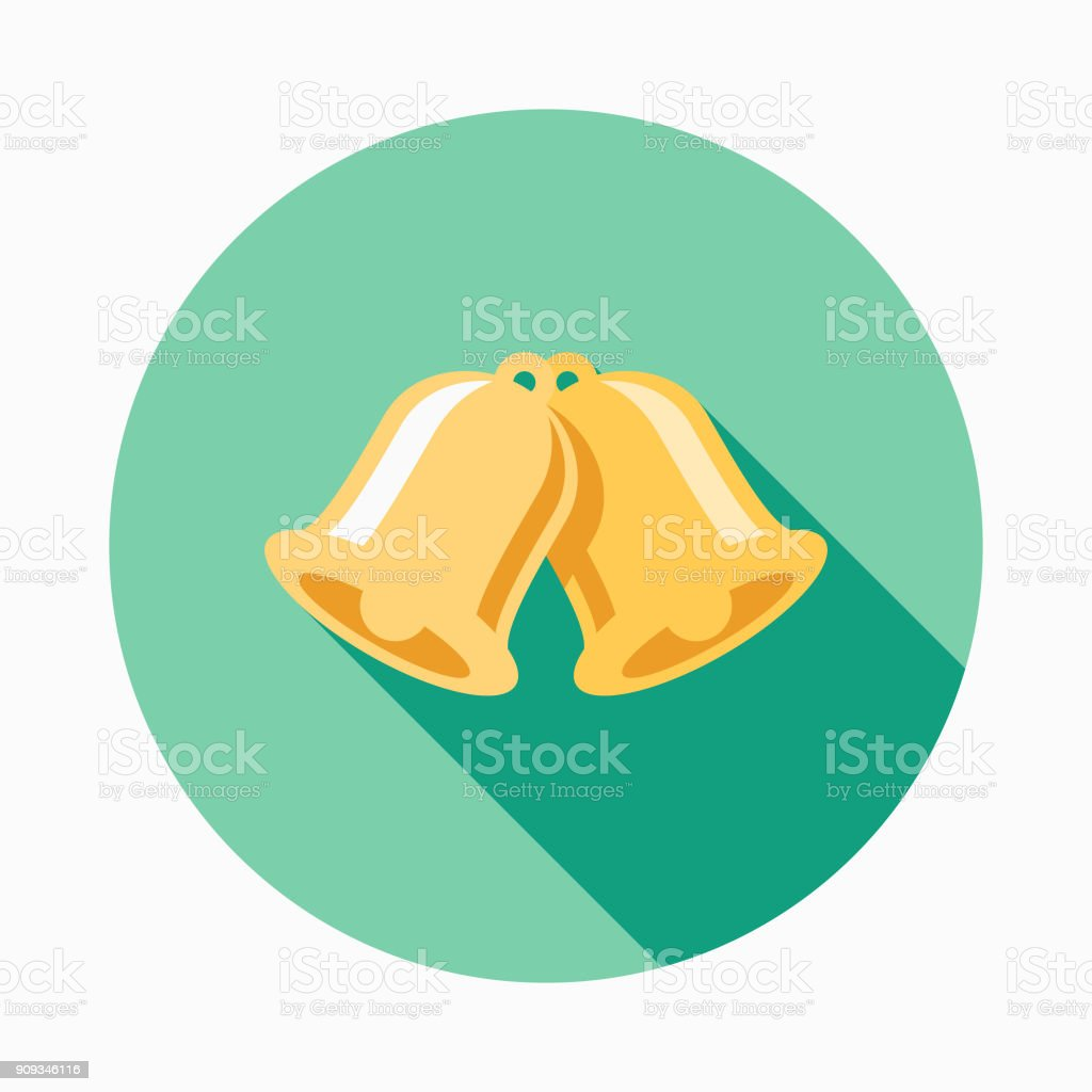 Wedding Flat Design Bells Icon with Side Shadow