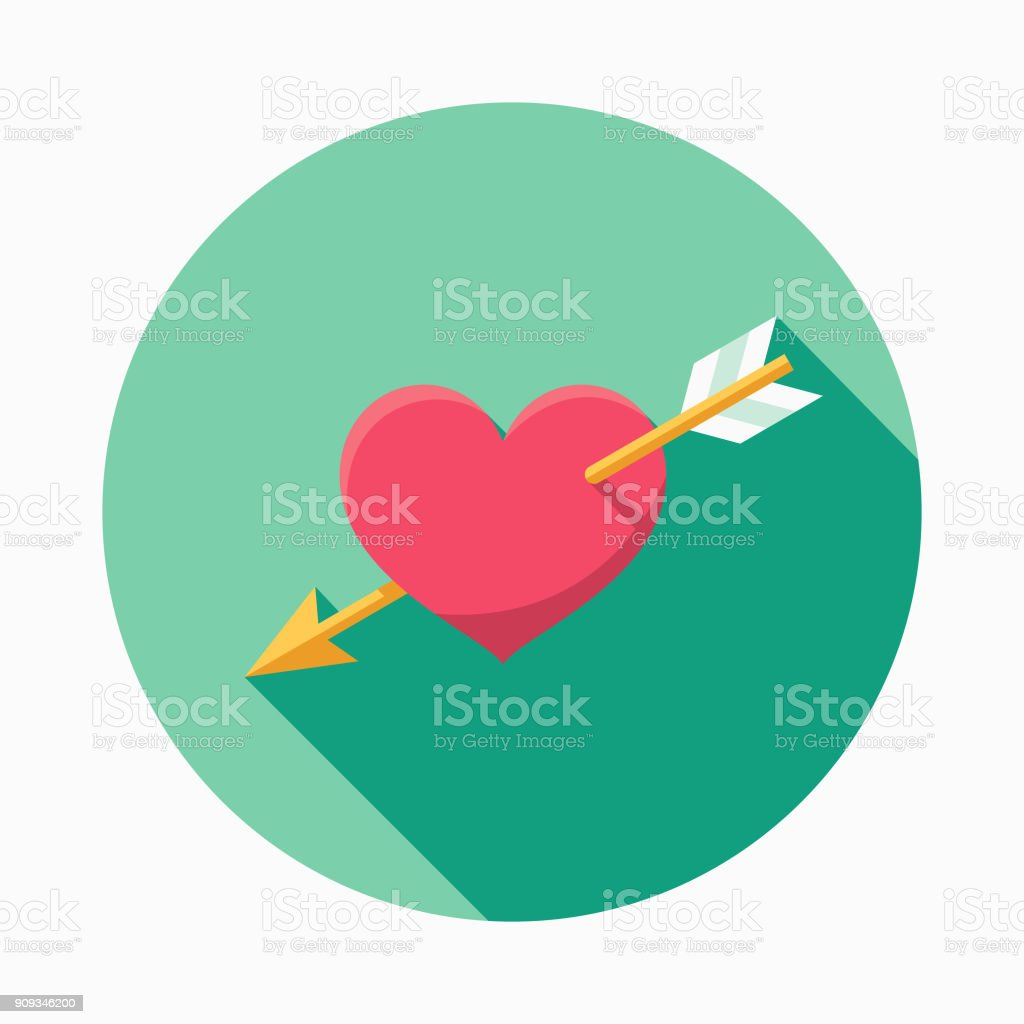 Wedding Flat Design Cupid's Arrow Icon with Side Shadow royalty-free wedding flat design cupids arrow icon with side shadow stock illustration - download image now