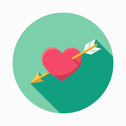 Wedding Flat Design Cupids Arrow Icon With Side Shadow Stock Illustration - Download Image Now
