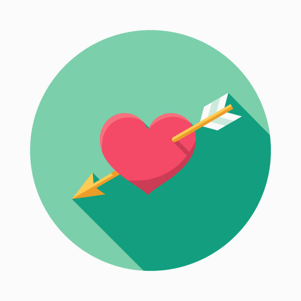 Wedding Flat Design Cupid's Arrow Icon with Side Shadow vector art illustration