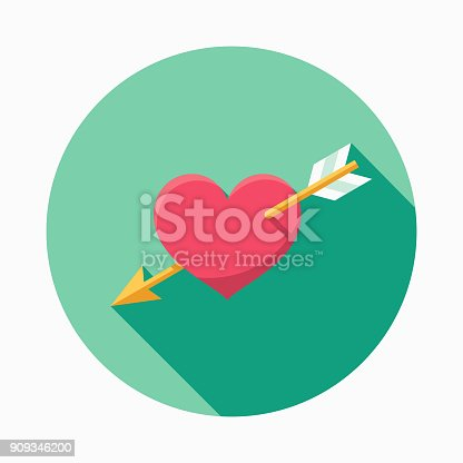Wedding Flat Design Cupids Arrow Icon With Side Shadow Stock Vector Art & More Images of Aiming 909346200