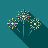 Wedding Flat Design Fireworks Icon with Side Shadow