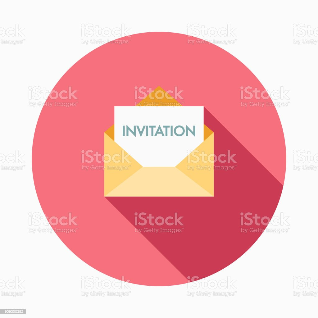 Wedding Flat Design Invitation Icon With Side Shadow Stock Vector ...