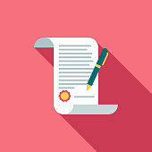 Wedding Flat Design Marriage Contract Icon with Side Shadow