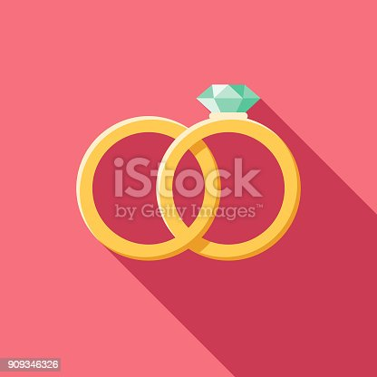istock Wedding Flat Design Rings Icon with Side Shadow 909346326