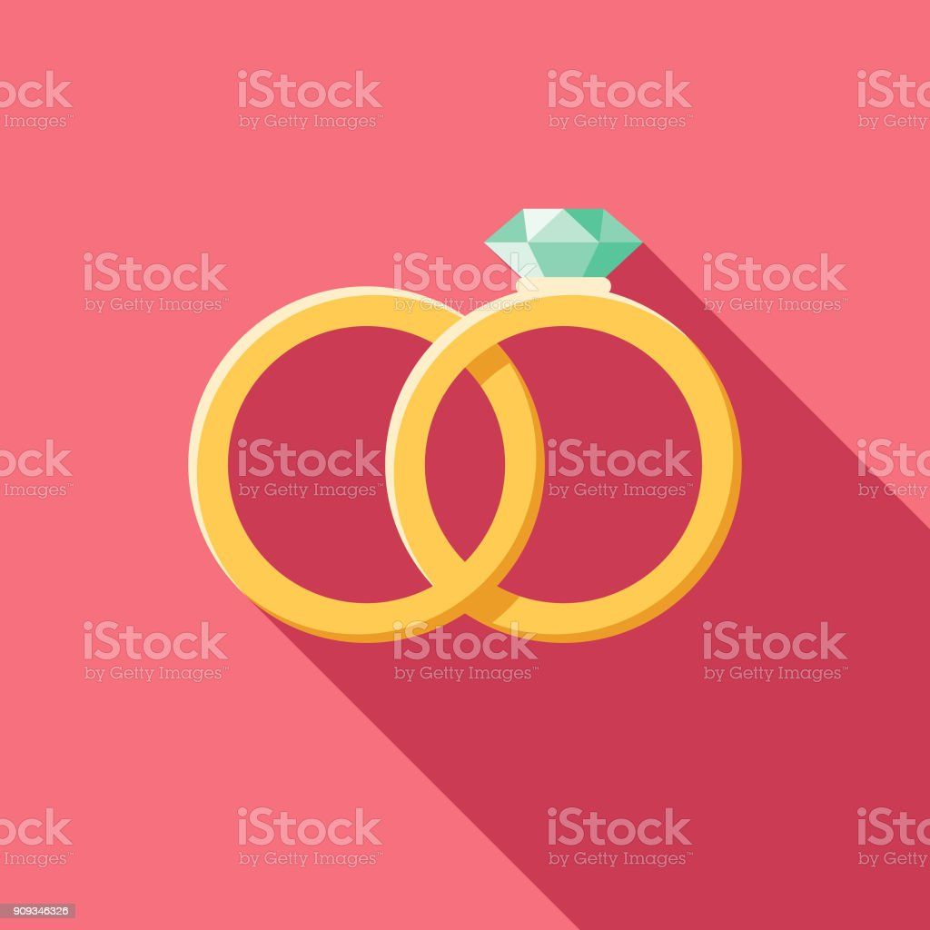 Wedding Flat Design Rings Icon with Side Shadow vector art illustration